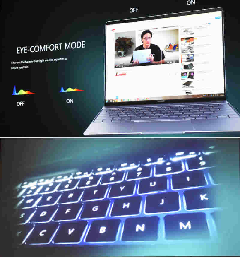 Huawei Matebook Blue light and backlite keyboard