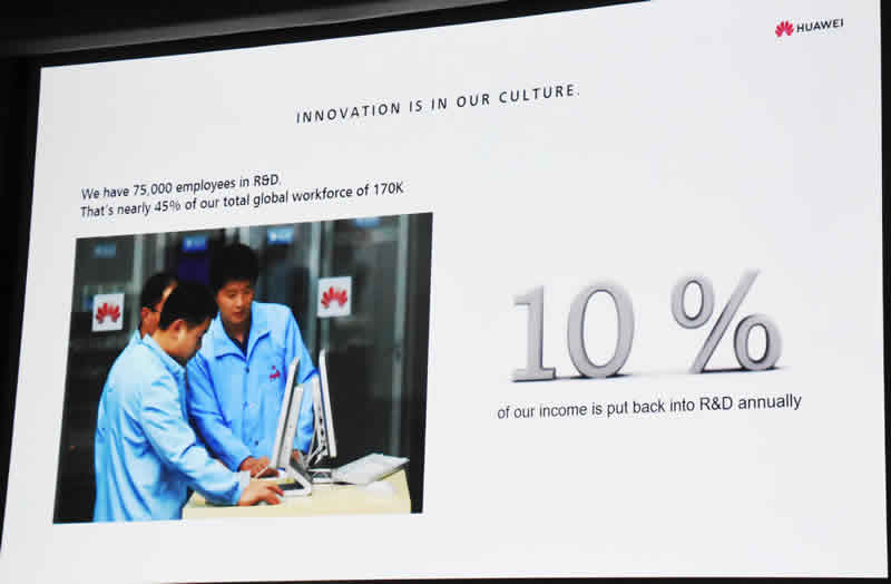 Huawei slide 5 R & D at 10%