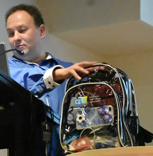 Alex shows his clear view CES backpack