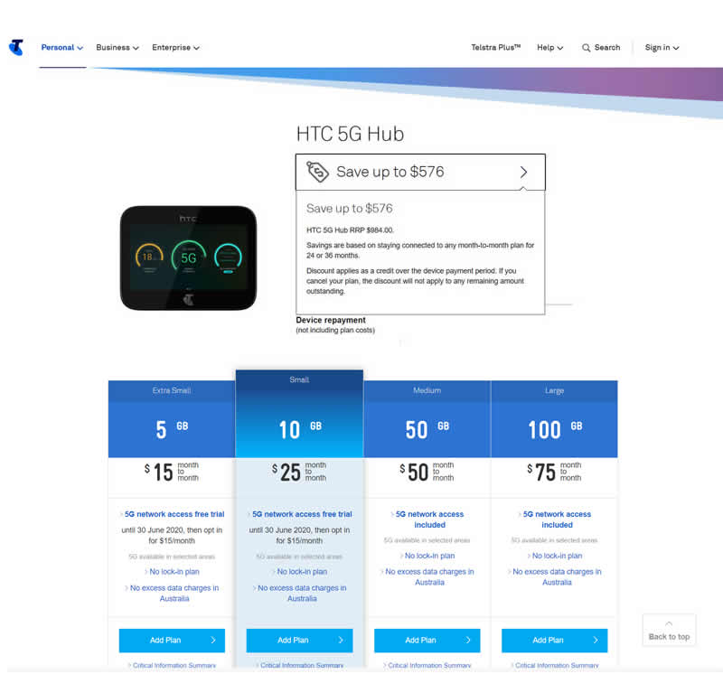 Telstra HTC Hub plans