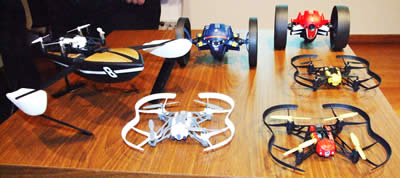 Range pf Parrot Drone's on display