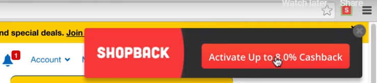 Shopback Extension showing discount available