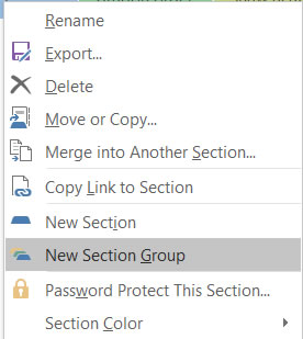 OneNote Section group creation