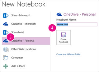 OneNote Createing a new notebook