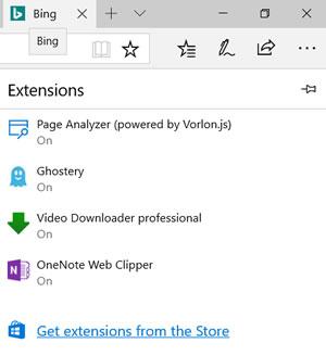 Edge Extensions screen