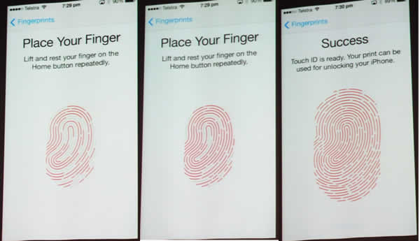 Finger print recognition sequence