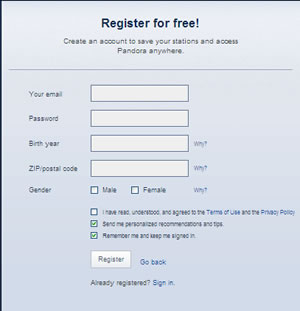 Pandora,s Registration  Window