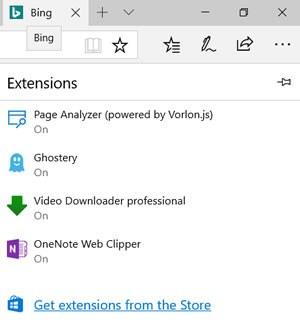 Edge Extensions screen